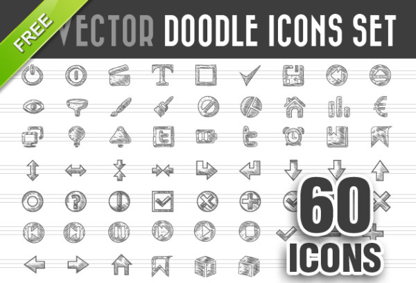 Doodle icons 60 kind