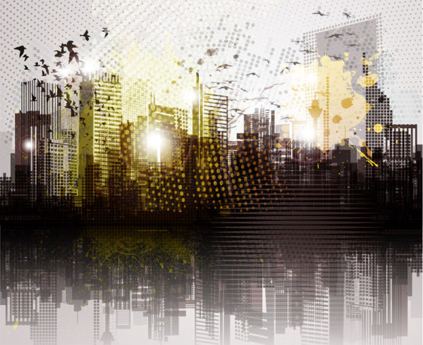 Urban Landscape Grunge Vector Vector Scenery Free Download