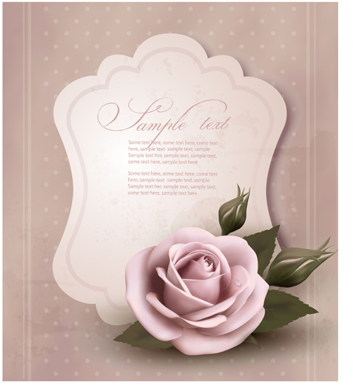 Sweet rose invitations cards vector material 01 over for 3d rose wedding invitations