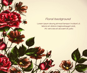 Retro Flower Backgrounds art vector 02