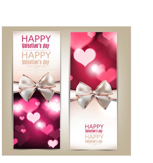 Romantic Happy Valentine day cards vector 03