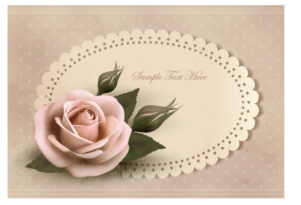 Sweet Rose invitations cards vector material 03
