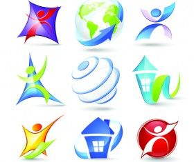 Modern 3D logos design elements vector 01