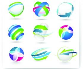 Modern 3D logos design elements vector 02