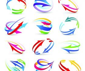 Modern 3D logos design elements vector 03