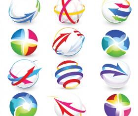Modern 3D logos design elements vector 04