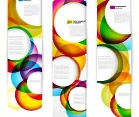 Abstract banner with Colored circular design vector 03
