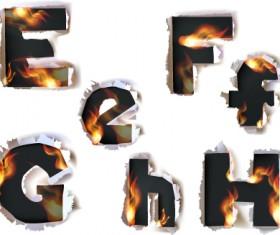 Different Alphabet fire paper vector material 01