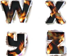 Different Alphabet fire paper vector material 02