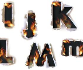 Different Alphabet fire paper vector material 03