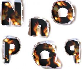 Different Alphabet fire paper vector material 04