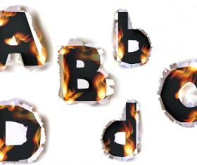 Different Alphabet fire paper vector material 05
