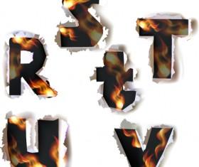 Different Alphabet fire paper vector material 06