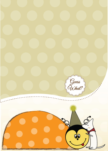Cute Baby style postcard design vector 03