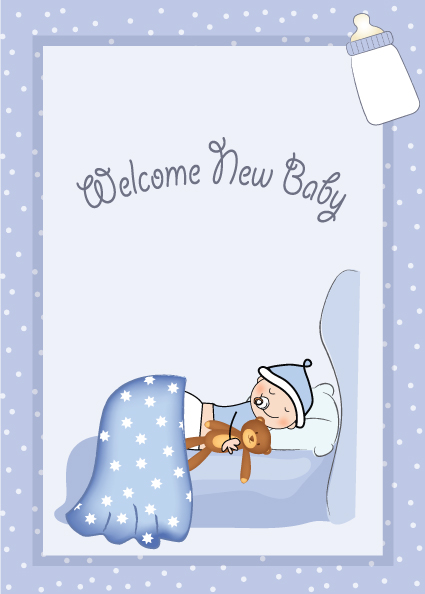 Cute Baby style postcard design vector 04