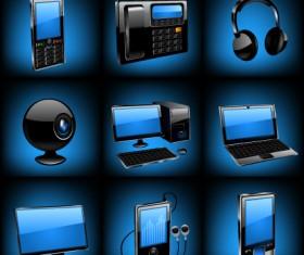 Different Blue icons Appliances design vector 03