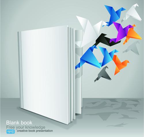 Creative Book Cover Design Vector : Creative book with origami birds design vector free
