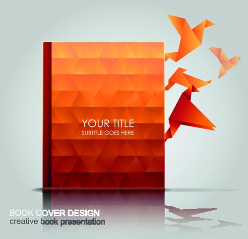 Creative Book Cover Design Eps ~ Creative book with origami birds design vector free