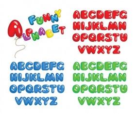Various Bright colored alphabet design vector set 01