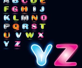 Various Bright colored alphabet design vector set 03