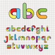 Link toVarious bright colored alphabet design vector set 04