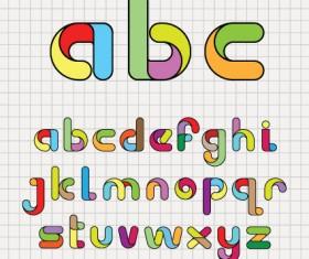 Various Bright colored alphabet design vector set 04