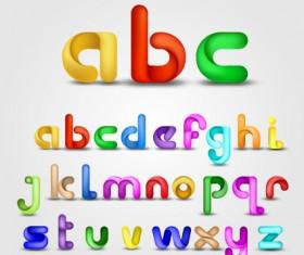 Various Bright colored alphabet design vector set 05