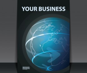 Business flyer with planet design vector 01