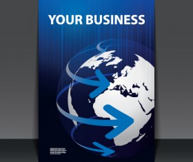 Business flyer with planet design vector 02