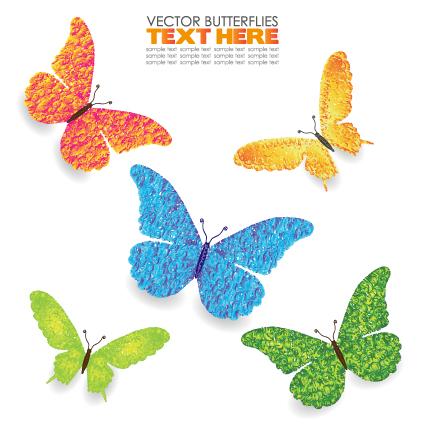 Beautiful Butterflies design elements vector 01