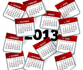 Set of Calendar grid 2013 design vector 10