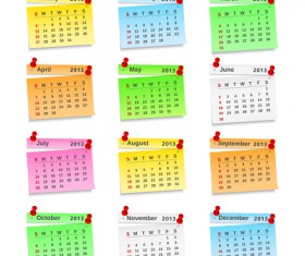 Set of Calendar grid 2013 design vector 08