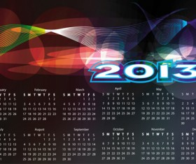 Set of Calendar grid 2013 design vector 09