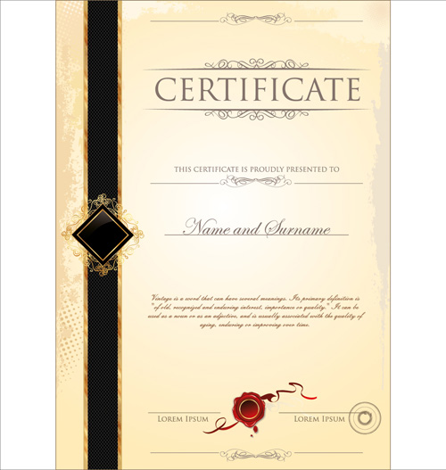Cover Of Certificate Design Template Vector 04 Free Download