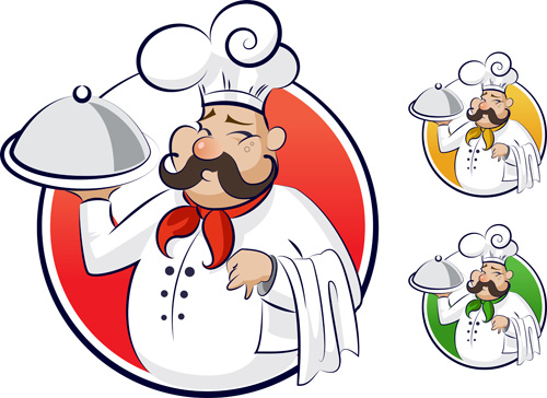 set of chef with pizza design vector 01  u2013 over millions