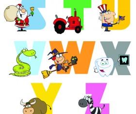 Funny Childrens alphabet vector set 01