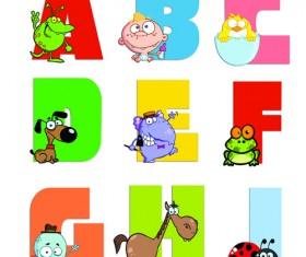 Funny Childrens alphabet vector set 03