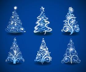 Halation Christmas tree design vector set 01
