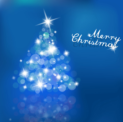 Halation christmas tree design vector set 04
