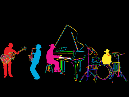 Color lines Musical instruments vector 04