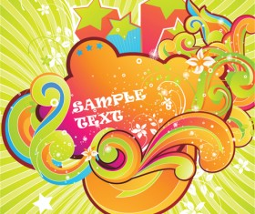 Set of Colored swirl vector backgrounds art 04