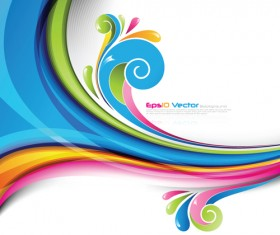 Set of Colored swirl vector backgrounds art 06