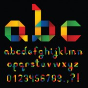 Link toSet of colorful alphabet and numbers design vector 01