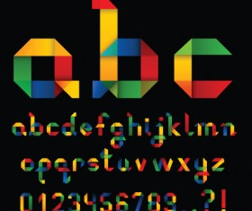 Set of Colorful Alphabet and numbers design vector 01