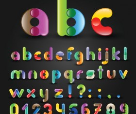 Set of Colorful Alphabet and numbers design vector 03
