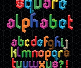 Set of Colorful Alphabet and numbers design vector 07