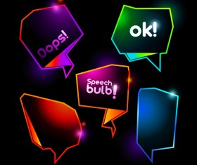 Shiny Colorful Speech Bubbles vector material 01