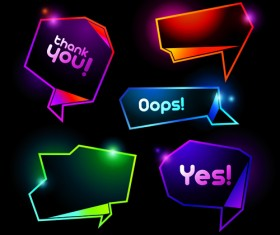 Shiny Colorful Speech Bubbles vector material 02