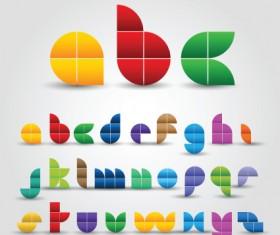 Creative Colorful decorative alphabet vector graphics 01