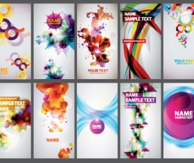 Abstract Colorful set of business cards elements vector 02